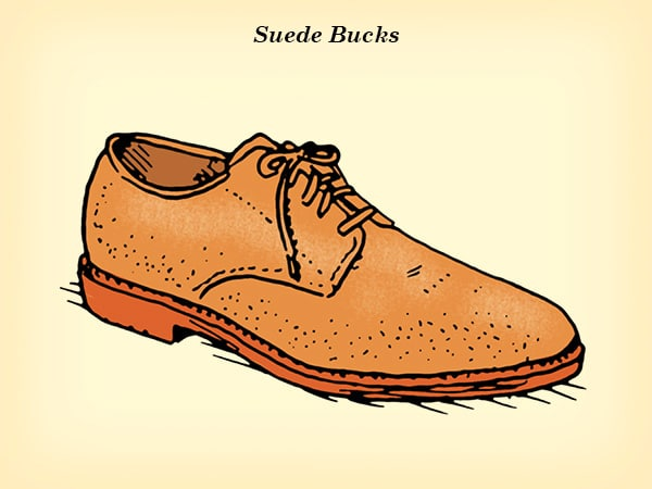 suede bucks dress shoe illustration