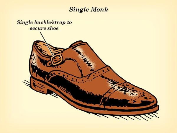 single monk strap dress shoe illustration