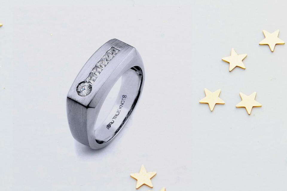 Diamond Embossed Men's Engagement Ring