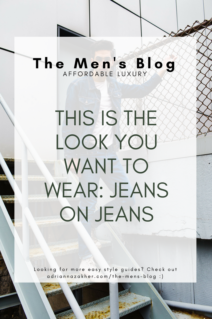 This Is the Look You Want to Wear: Jeans on Jeans - LLEGANCE ; Don't know how to pull off jeans on jeans? No problem! Here's a simple guide for wear jeans on jeans in a wearable way! Click to read more. This is The Look You Want to Wear: Jeans on Jeans summer outfit idea for men | the men's blog | jean on jean | how to wear jeans for men | street style outfit ideas for men | cool looks for men | spring outfits for men | fall outfits for men | winter outfits for men